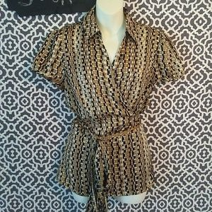 Ann Taylor LOFT Full Wrap Brown Blouse Size Large
